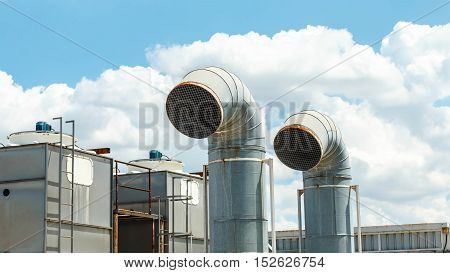 Ventilation system of factory on deck Outdoors.