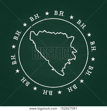 White Chalk Texture Rubber Seal With Bosnia And Herzegovina Map On A Green Blackboard. Grunge Rubber