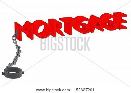 a 3D rendering of the word mortgage attached to a manacle.