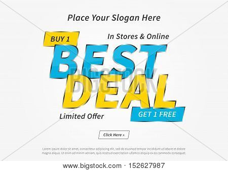 Banner Best Deal Buy 1 Get 1 Free vector illustration on grey background. Horizontal poster Best Deal creative concept. Flyer layout Best Deal Buy 1 Get 1 Free A4 size ready to print.