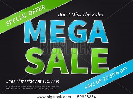 Banner Mega Sale vector illustration on black background. Poster Mega Sale creative concept for websites retail stores advertising. Banner layout Mega Sale A4 size ready to print.