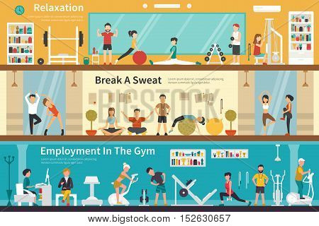 Relaxation Break A Sweat Employment In The Gym flat fitness interior outdoor concept web. Career Chart Fun