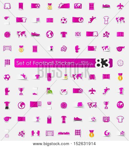 football vector sticker icons with shadow. Paper cut