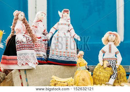 Dolls Made Of Cloth. Souvenirs From Belarus