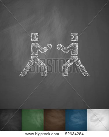 sparring icon. Hand drawn vector illustration. Chalkboard Design