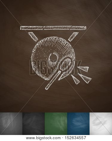 gong icon. Hand drawn vector illustration. Chalkboard Design