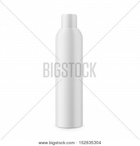 Round white glossy plastic cosmetic bottle with cap. Realistic packaging mockup template. Front view. Vector illustration.