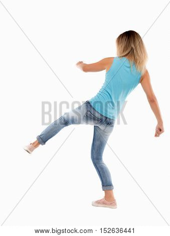 skinny woman funny fights waving his arms and legs. Isolated over white background.