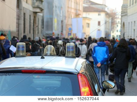 Protesters Rioting During A Protest In The Street And The Police