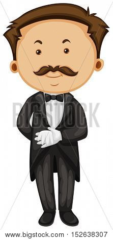 Butler in taxido and gloves illustration