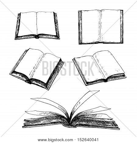 Hand drawn set of books. Retro sketches isolated. Vintage hypster collection. Doodle line graphic design. Black and white drawing images. Vector illustration.