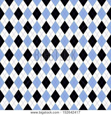 Seamless argyle pattern in pale cornflower blue, white & black check with violet stitch.