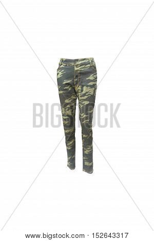 militaly long trousers on isolated white background