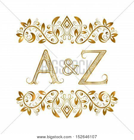 A&Z vintage initials logo symbol. Letters A Z ampersand surrounded floral ornament. Wedding or business partners initials monogram in royal style.