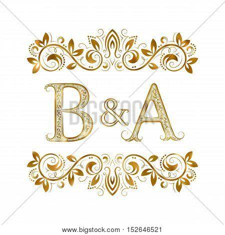 B&A vintage initials logo symbol. Letters B A ampersand surrounded floral ornament. Wedding or business partners initials monogram in royal style.
