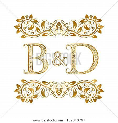 B&D vintage initials logo symbol. Letters B D ampersand surrounded floral ornament. Wedding or business partners initials monogram in royal style.
