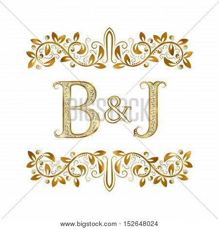 B&J vintage initials logo symbol. Letters B J ampersand surrounded floral ornament. Wedding or business partners initials monogram in royal style.