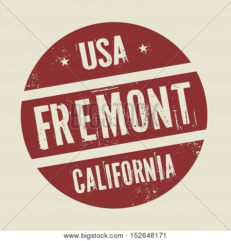 Grunge vintage round stamp with text Fremont California vector illustration