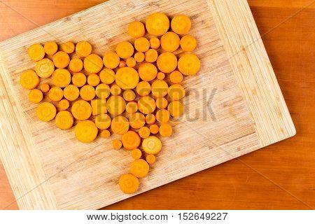 Chopped Carrots Arranged In Heart Shape