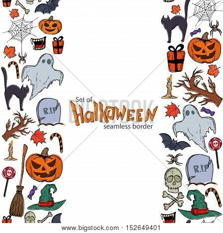 Vertical seamless borders of Halloween icons. Vector stock illustration.