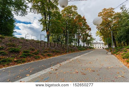 City landscape. Autumn / fall landscape. Footpath.