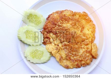 Traditional Thai Omelet,simple But Delicious. Thai People Knows It Well. The Plain Omelet Is So Good