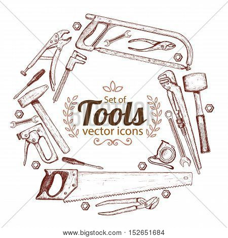Round frame with repair tools icons. Template for packaging cards posters menu. Vector stock illustration.