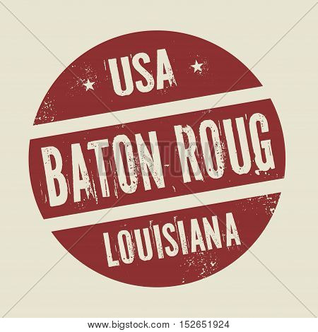 Grunge vintage round stamp with text Baton Rouge Louisiana vector illustration