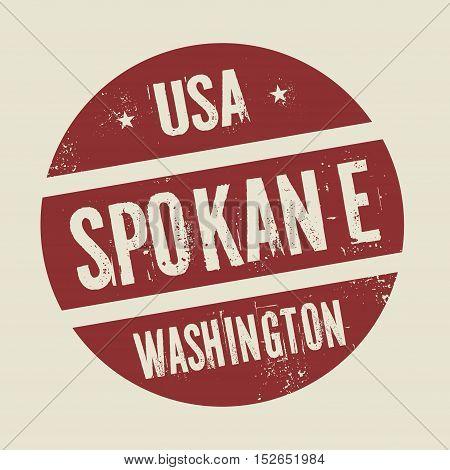 Grunge vintage round stamp with text Spokane Washington vector illustration