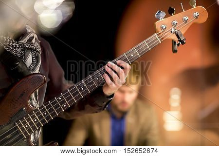 Man Plays Bass Guitar, Concert, Music, Bar, Restaurant, Musician, Hand