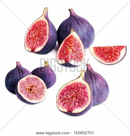 Set of Fresh figs with cut pieces isolated on white background macro. Collection with fig fruits
