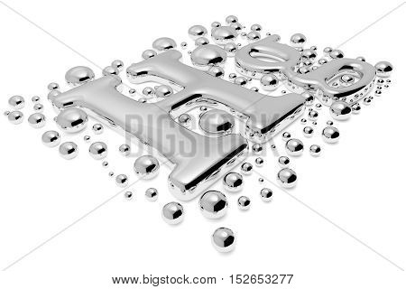 Small Mercury (hg) Metal Sign With Drops Diagonal View