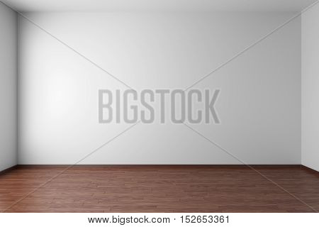 Empty room with white walls dark hardwood parquet floor and soft skylight from window simple minimalist interior architecture background with copy-space 3d illustration