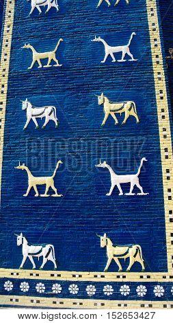 Fragment of Ishtar gates copy decoration in Babylon ruines Iraq
