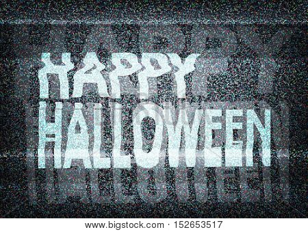 Happy Halloween Message On An Old  Tv Screen With Static Noise