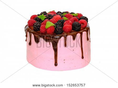 Homemade cake with berries isolated on white background