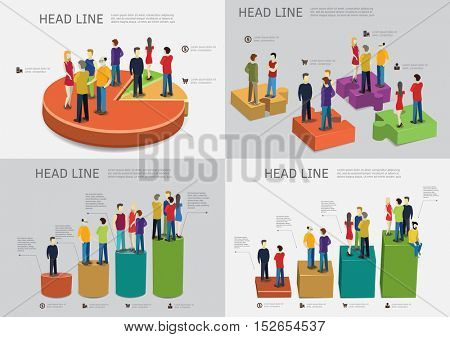 People are standing on bar charts Career ladder concept. Vector illustrations set.