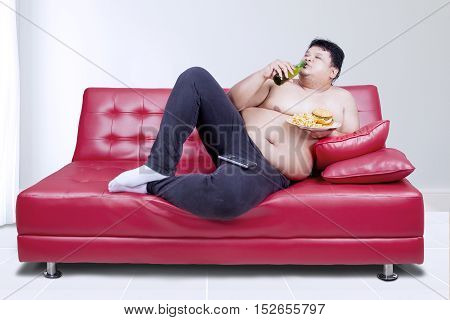 Image of lazy fat man reclining on couch while drinking fresh beer and eating junk food
