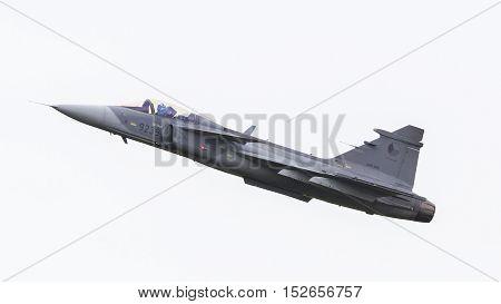 Leeuwarden, The Netherlands-june 10: Modern Tactical Fighter Jet Jas-39 Gripen Performs At The Dutch