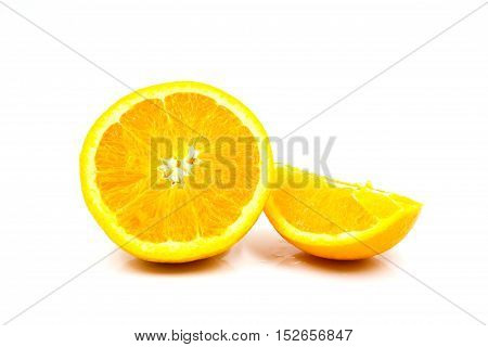Closeup of Orange isolated on white background