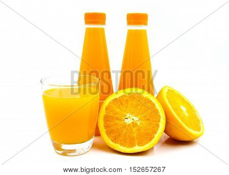 Fresh orange juice isolated on white background