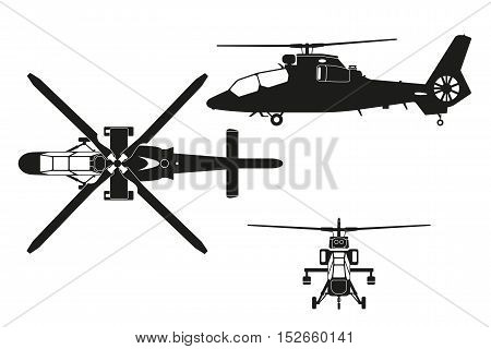 Silhouette of helicopter. The helicopter in three views: top view side front. Realistic image of helicopter on white background. Vector illustration