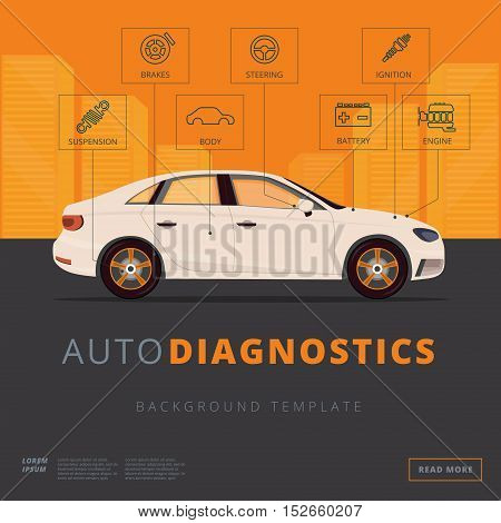 Car Diagnostics Background Template. Auto Inspection Or Garage Repair Service Concept. Flat Vector B
