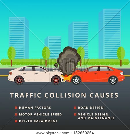 Traffic Collision Causes. Car Crash Vector Illustration. Auto Accident With Two Motor Vehicles After