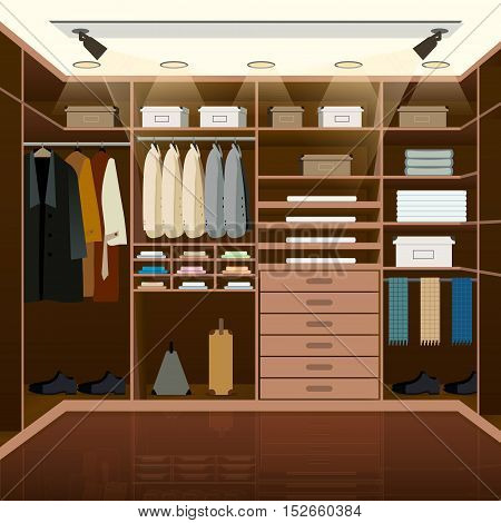 Men's dressing room design. Indoor domestic changing or waiting room for wardrobe keeping. Clothes and shoes on hangers. Furniture vector illustration.