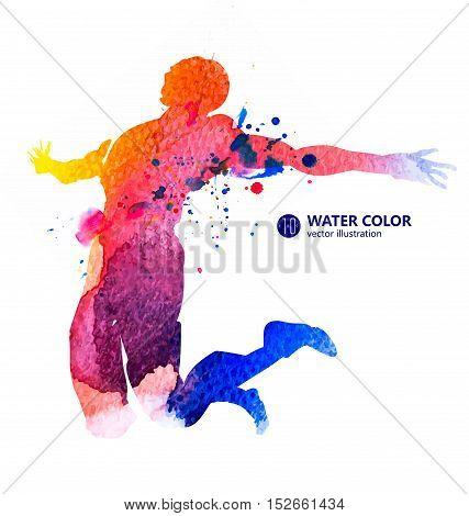 Jump man, Watercolor Textured image, vector illustration.