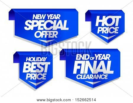 New year special offer, holiday best price, end of year final clearance, hot price holiday sale signs set