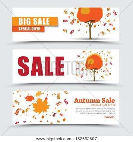 Horizontal white banner design (flyer) for sale. Template Autumn trees from which the leaves fall off and discount percentages. Vector illustration