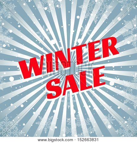 Winter sale. Christmas sale. New year sale. The sun's rays blue red background banner, snow, snowflakes vector