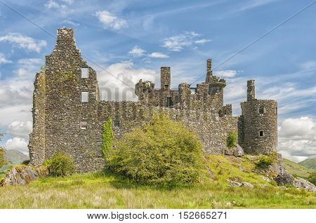 Kilchurn Castle a ruined 15th century structure on the banks of Loch Awe in Argyll and Bute Scotland.